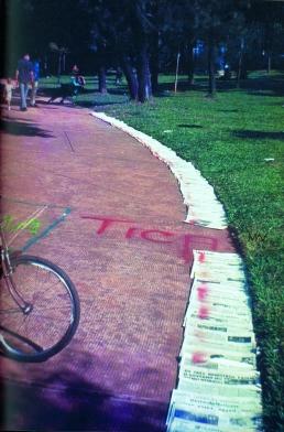 jose-ronaldo-lima-gramatica-amarela-proposta-conceitual-de-inter%c2%advencao-com-jornal-e-tinta-spray-no-parque-municipal-manifestacao-do-corpo-a-terra-belo-horizonte-abril-de-1970