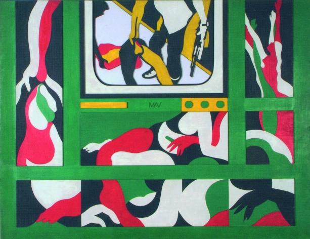 Teresinha Soares. Morreu Tantos Homens e Eu Só. 1968. Série Vietnã. Técnica mista. 117 x 152,5 cm. Acervo do Conservatório de Música da UFMG, Belo Horizonte..jpg